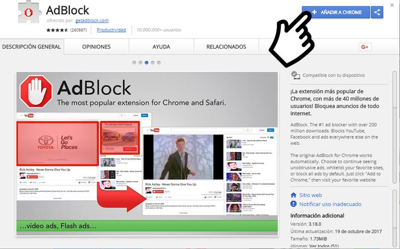 instalar adblock en chrome